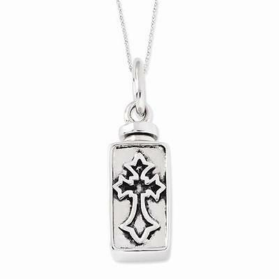 "Sterling Silver Antiqued Rectangle Box Cross Ash Holder Charm 18"" Necklace"