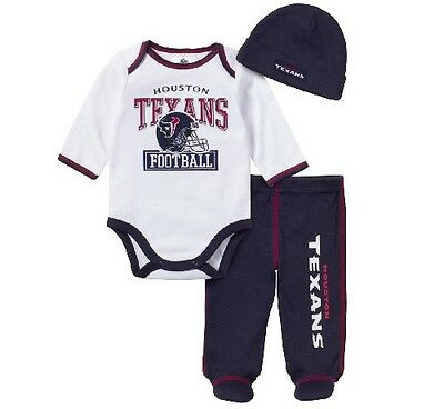 Gerber NFL Houston Texans 3-piece Baby Outfit Long Sleeves Set; Many Sizes!!