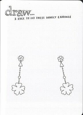 (16969 ) Colour It In Postcard - Fashion - A Face to Fit these Dangly Earings