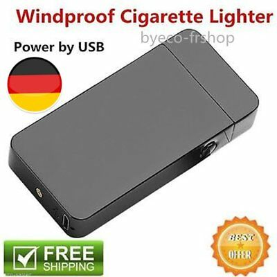 2x USB Dual Arc Metal Flameless Torch Rechargeable Windproof Electric Lighter F8