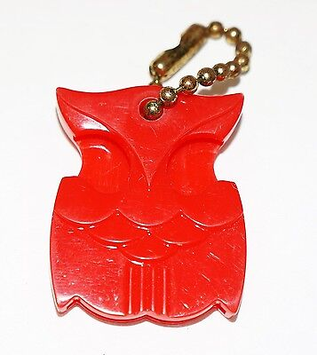 Vintage 1950's plastic owl keychain - Pittsburgh Tire Store Advertisment