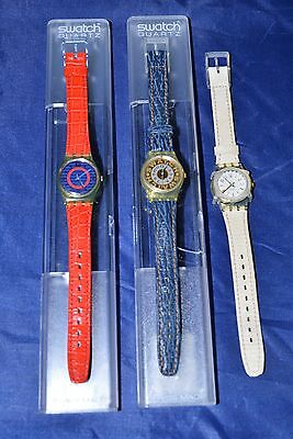 Lot of 3 Vintage Swatch Watches - Red, White, and Blue Leather, New Batteries