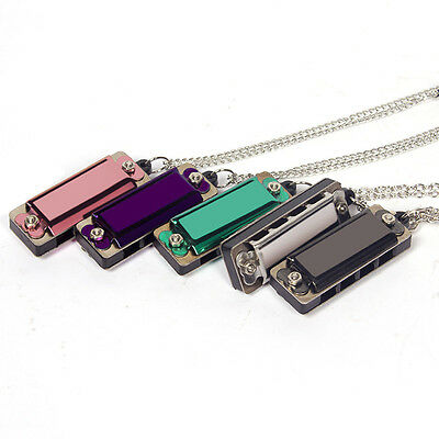 Mini 4 Hole 8 Tone Harmonica Metal Necklace Design Chain Toy Gift Color Random