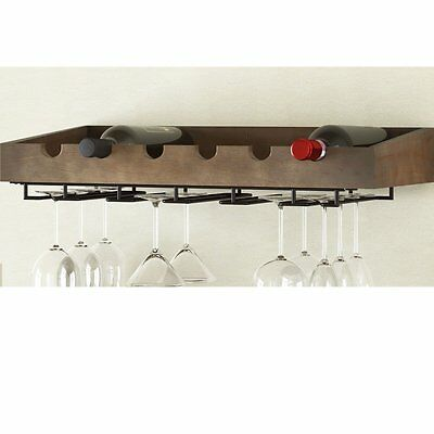 ArtifactDesign Wall Mounted Wood Wine Rack for 6 Bottles with Stemware Glass ,
