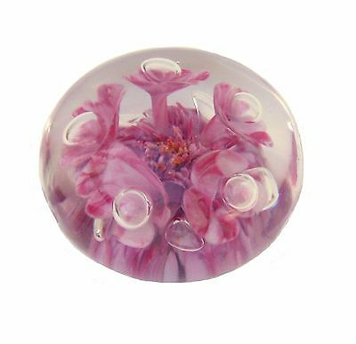 """Large 4"""" Vintage ST CLAIR Art Glass Paperweight Pink Flowers Controlled Bubbles"""