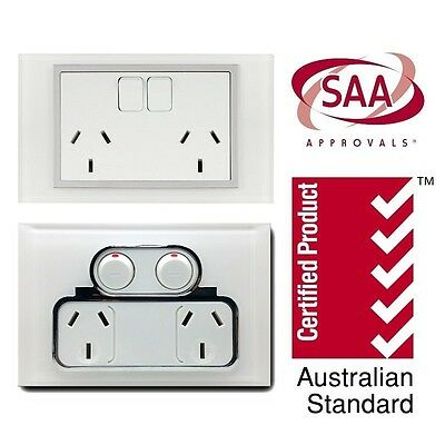 Double Power Point 10A GPO, Twin Switched Socket, Saturn White Glass Touch Look