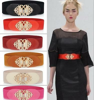 2017Fashion Women Crystal Wide Belts Elastic Stretch Buckle Waistbands for Girls