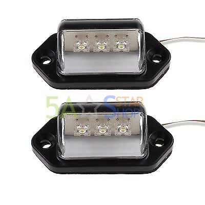 2PCS LED License Number Plate Light Tail Rear Lamp For Truck Trailer Lorry 12V