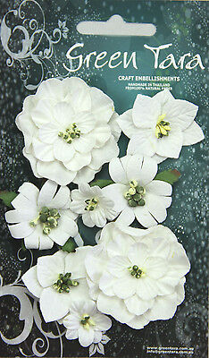 Fantasy Blooms WHITE 8 Mixed Paper Flowers 20-50mm across Green Tara GT D