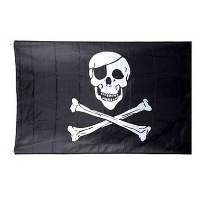 Pirate Skull Crossbones Cross Bones Jolly Roger Banner Flag Eyelet ~Large