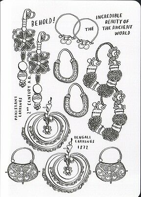 (16979 ) Colour It In Postcard - Earings - Beauty Of the Ancient World