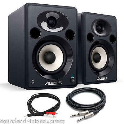 "2 x Alesis Elevate 5 Professional 5"" 80W Active Studio Monitor Speakers + Leads"