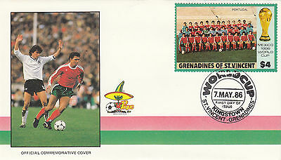 (33072) St Vincent Grenadines FDC - Football World Cup 1986- Portugal
