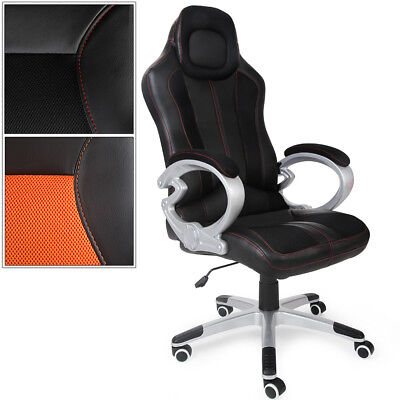 Chaise de bureau sport fauteuil pc ordinateur chaise gaming similicuir ajustable
