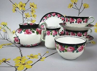 Antique Staffordshire George Jones & Sons CRESCENT china tea set for two. c 1900
