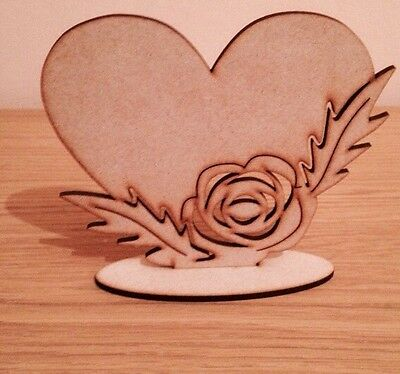 Freestanding Wooden Heart Gift Present Mdf Blank 120 X 140 Mm With Rose