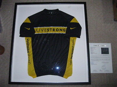 Lance Armstrong Autographed Cycling Livestrong Jersey Framed JSA CERTIFIED