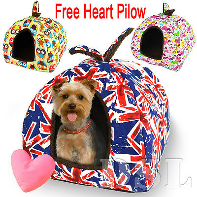 Washable Luxury Canvas Pet Igloo Dog Cat Bed House Kennel Doggy Cushion Basket