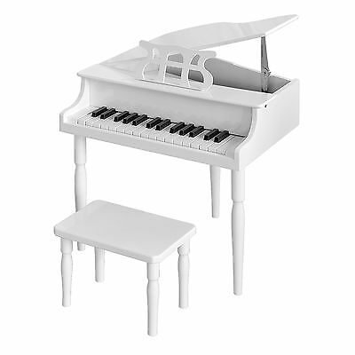 Childrens 30-Key Baby Grand Piano with Stool in White Gloss - Beginners Piano