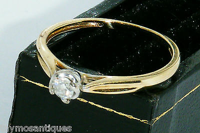 9k Gold 9ct solid yellow gold 0.10ct solitaire diamond ring size k Boxed