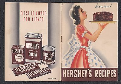 1940 Hershey's Recipes, Hershey Chocolate Cook Booklet w/ ads 32 pp