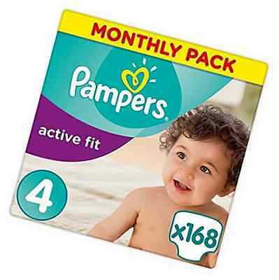 Pampers Premium Protection Active Fit Nappies, Monthly Saving Pack - Size 4, 168