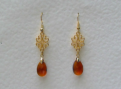 Lacy Filigree Victorian Style Brown Glass Crystal Gold Plated Earrings