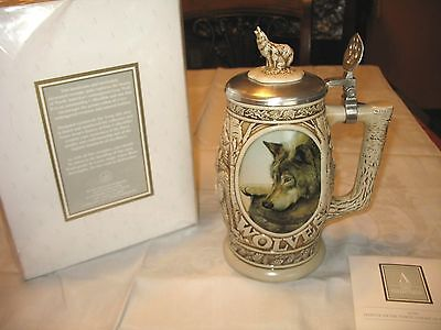 New Original Box Avon Collectibles 1997 Tribute North American Wolf Beer Stein