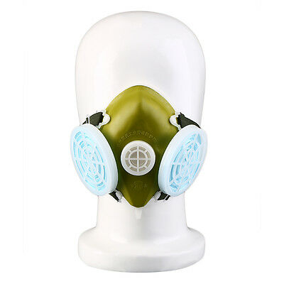 Dual Respirator Gas Mask Anti-Dust Twin Chemical Spray Paint Safety Headwear ZR