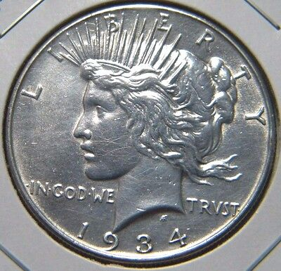 1934 Peace Silver Dollar***about Uncirculated Condition***beautiful Luster***be