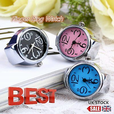 Creative Fashion Steel Round Elastic Quartz Finger Ring Watch Lady Girl Gift ZW