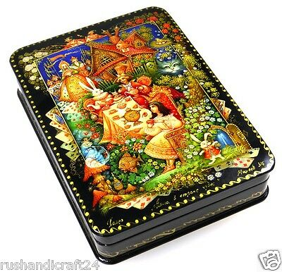 """Alice im Wunderland"" Russische Lackmalerei Lackdose Russian lacquer box Palekh"
