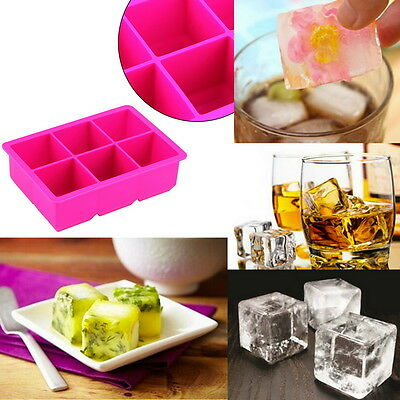 6-Cavity Large Silicone Drink Ice Cube Pudding Jelly Soap Mould Tray Tool ZR