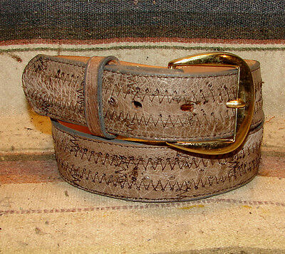 Vintage Tony Lama Taupe Brown Ostrich Leather Western Dress Belt Size 30 New