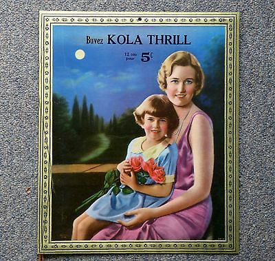 NOS 1930's French Canadian KOLA THRILL 5¢ cardboard advertising sign FREE SHIP!