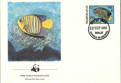 (70265) FDC Maldives - Regal Angelfish - 1986