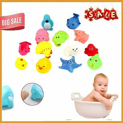 13pcs Different Squeaky Floating Animals Ocean Rubber Baby Bath Bathing Toys ZR