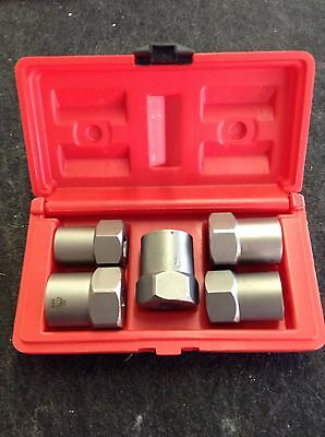 """Snap On Tools 5pc Hex Bolt Extractor Set BEX5B 3/4""""15/16""""/1"""" 19mm-24mm"""