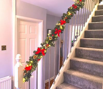 Lit Red Stairs Christmas Garland Holly 6ft With 40 White Lights Snowman