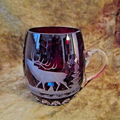 Vintage Ruby Red Thumbprint Mug W/Etched Bull Elk and Bird in Forest Scene
