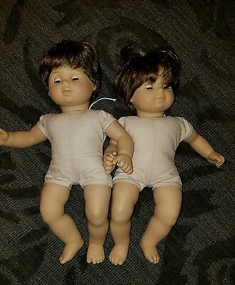 American Girl Bitty Baby Twins boy & girl Brown Hair Eyes no clothes Pleasant Co
