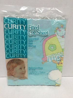 Vintage 1980's  Curity Fitted Crib Sheet NIP