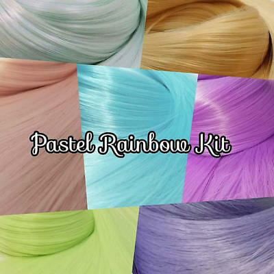 Pastel Rainbow Nylon Doll Hair Colors Doll Reroot Kit 7 Hanks Custom Dolls Pony