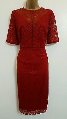NEW M&S 10-22 Red Floral Lace Bodycon Dress Occasion Wedding Party Evening