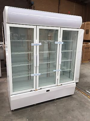 EUROTAG 3 DOOR 1150L COMMERCIAL UPRIGHT DISPLAY FRIDGE {white} 1YEAR WAR.
