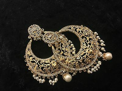 Indian Pakistani weddings earrings jewellery.bollywood chand bali Gold Plated