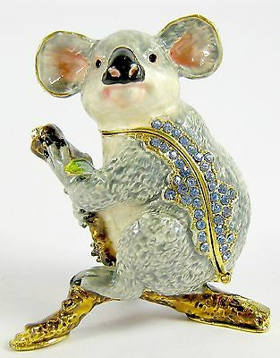 Australian Native Koala Jewelled & Enamalled Trinket Box or Figurine