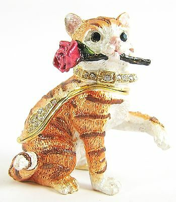 """Rosy"" Ginger Tabby Cat with Rose Jewelled Trinket Box or figurine"