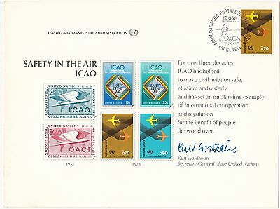 (32753) CLEARANCE United Nations FDC Souvenir Safety in the Air 1978
