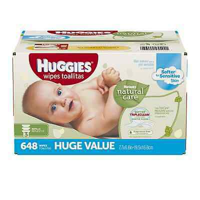 Huggies Natural Care Baby Wipes, Refill, 648 ct, Fragrance Free, Hypoallergenic,